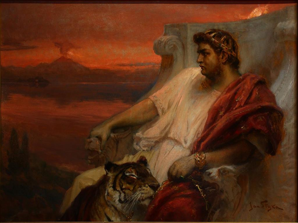 A painting of Roman Emperor Nero, who, according to legend, fiddled while Rome burned.