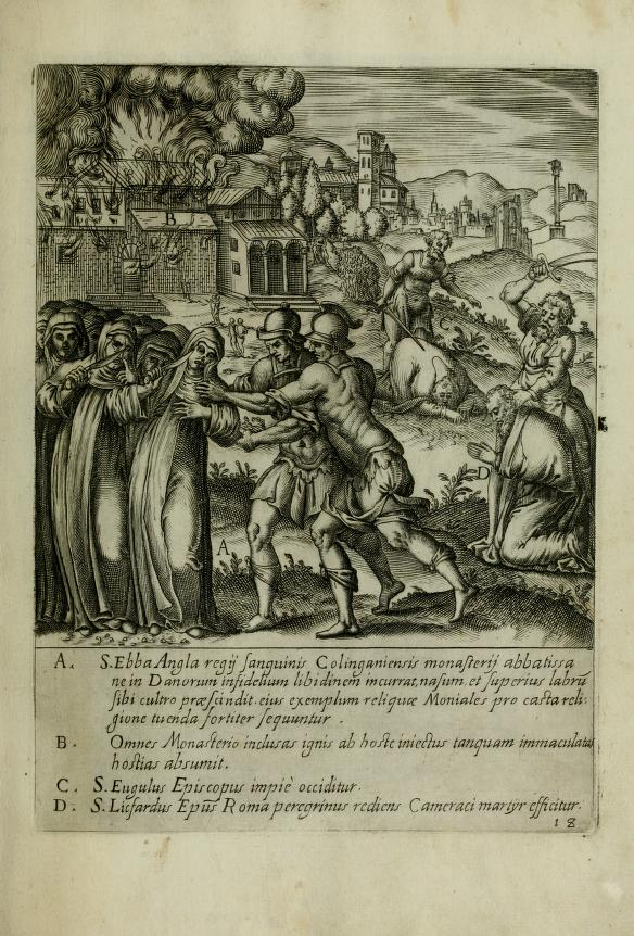 A 16th-century representation of St. Ebba and her followers' self-mutilation. Obtained through Creative Commons.
