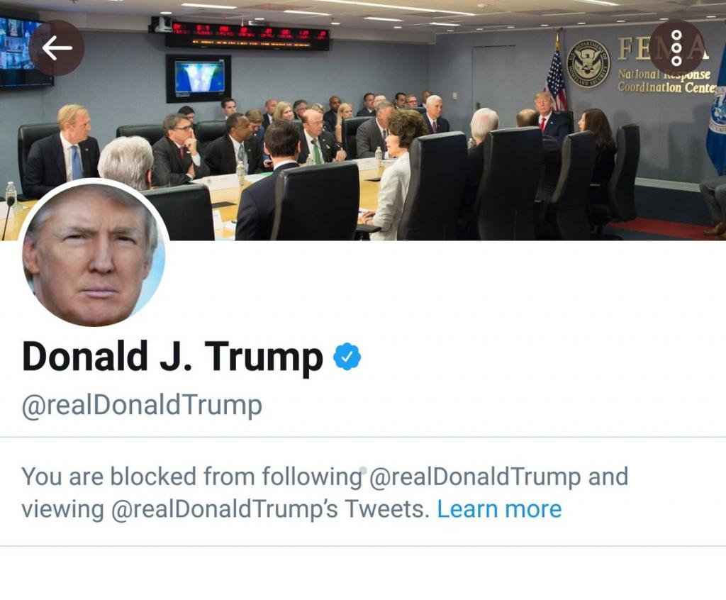 Trump is notorious for blocking Twitter followers for small potatoes.