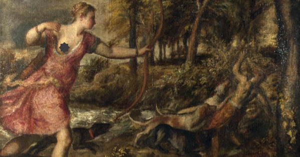 Artemis on the hunt. Wikimedia Commons, edited.