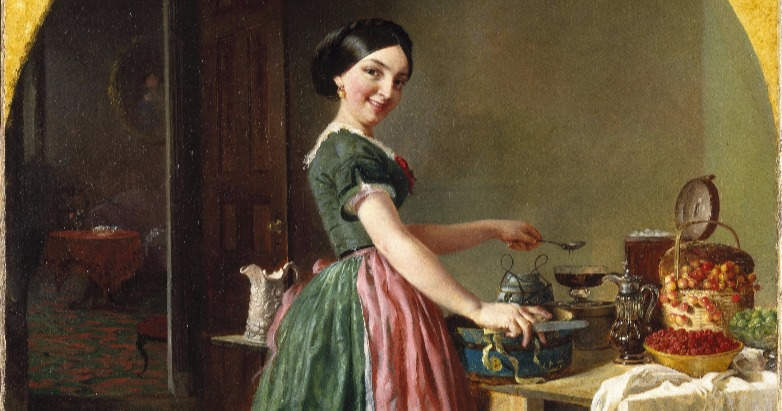 happy kitchen witch making magic and good food at the hearth painting by Lilly Martin Spencer