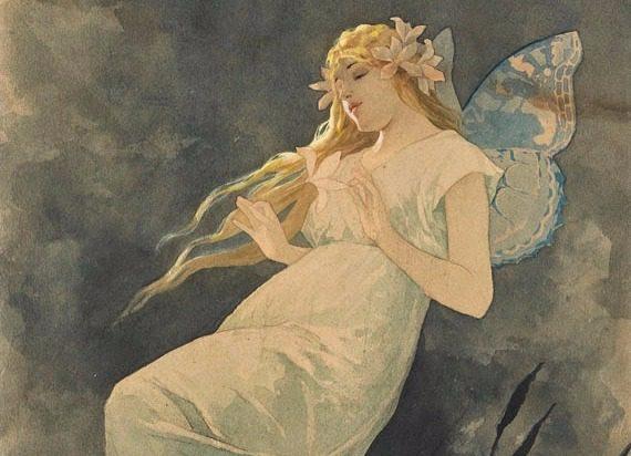 Fairy with Iris, Alphonze Mucha, Public Domain
