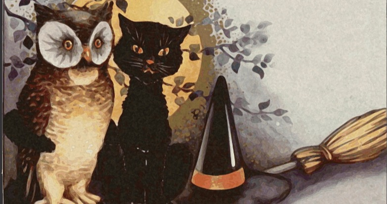 witch hat broom cat owl pagan wiccan witch