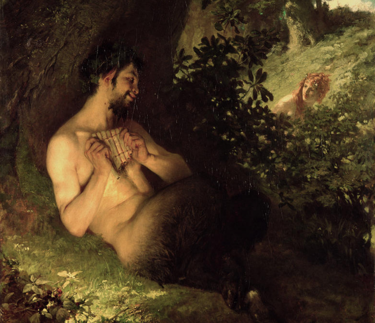 Pan-god-greek-pagan-hellenic-Faun-and-Nymph-Pal-Szinyei-Merse-1868-Public-Domain