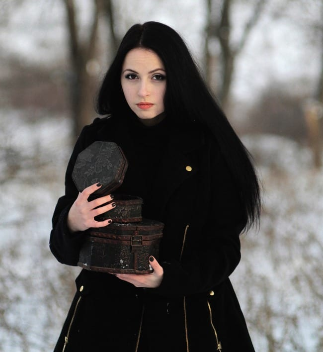 let there be darkness pagan goth witch christmas season yule holiday woman coat