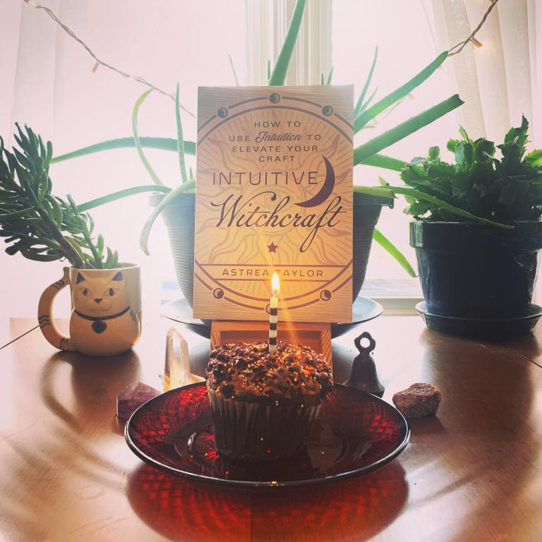 birthday candle on cupcake magic magick book celebration spell witchcraft