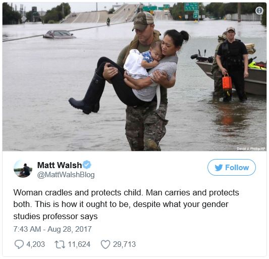 """Woman cradles and protects child. Man carries and protects both. This is how it ought to be, despite what your gender studies professor says."""