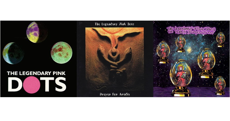 """Pictured: the Legendary Pink Dots albums """"Under Triple Moons,"""" """"Prayer for Aradia,"""" and """"The Maria Dimension."""" Nope, nothing witchy or magical here, nosiree. Move along, nothing to see here..."""