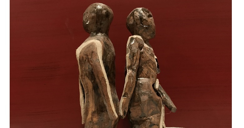 (Ceramic statue by the author's partner.)