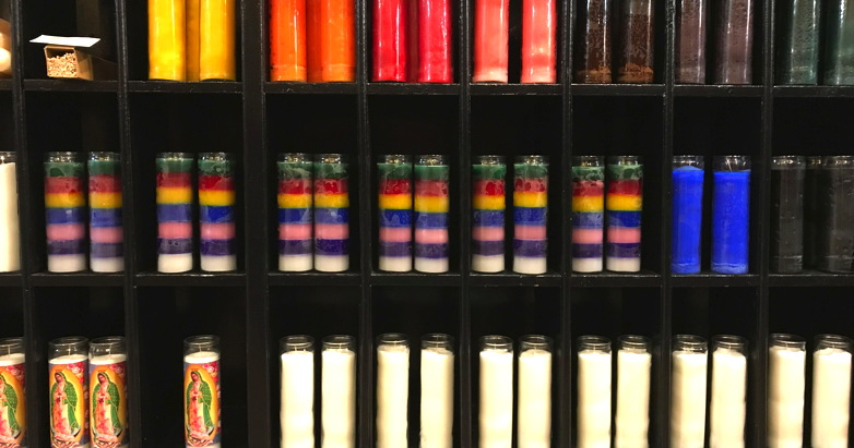 Sadly, it's a little more complicated than finding a properly-colored colored candle and some nice incense, though those things are nice, too. (Photograph taken at The Candle Store, Port Townsend, WA.)