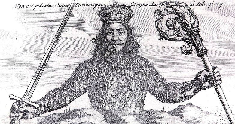 """""""There is no power on earth to be compared to him"""" (Job 41:24). Abraham Bosse's evocative frontispiece for Hobbes' Leviathan."""