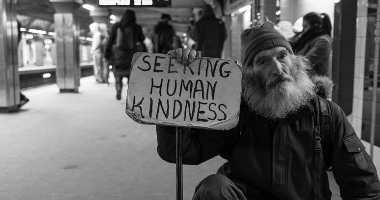 Seeking human kindness.