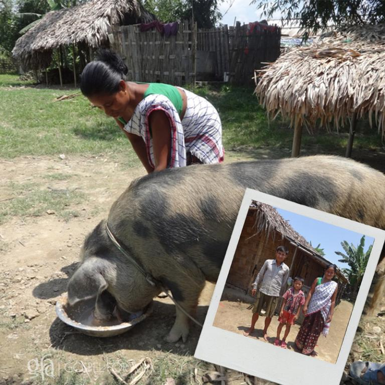 Kanal, his family and their pig - KP Yohannan - Gospel for Asia