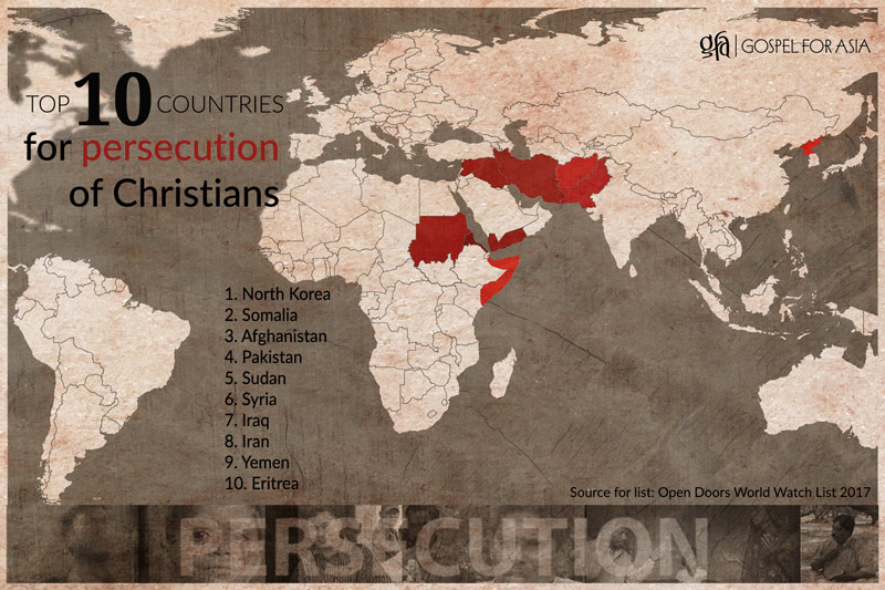 Top 10 countries for persecution of Christians map - KP Yohannan - Gospel for Asia