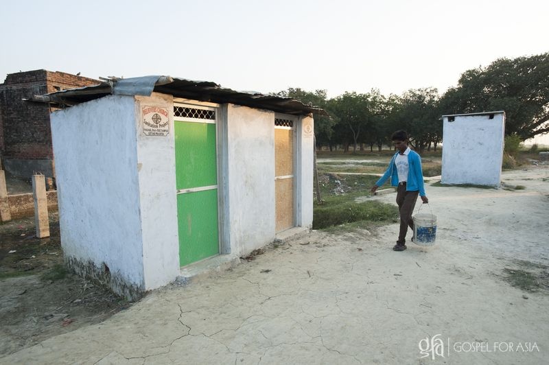 the only sanitation facility in this village - KP Yohannan - Gospel for Asia