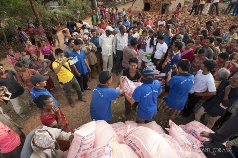 Compassion Services team provides aid to villagers - KP Yohannan - Gospel for Asia
