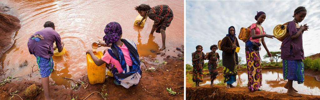 Women in Gayo, Ethiopia collect water from a rain water pool - KP Yohannan - Gospel for Asia
