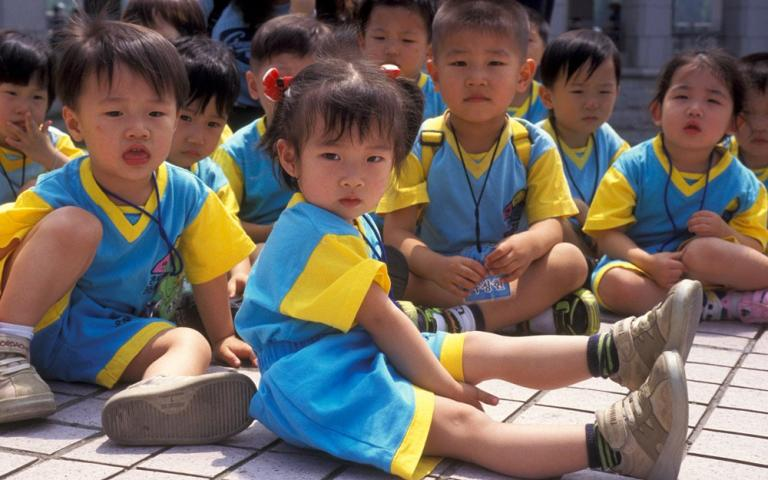 This photo is just one depiction of a once-looming human rights catastrophe. Because of the skewed sex ratio in Asia, many countries are now experiencing such high female shortages that there are no longer enough women to mate in marriage with the existing male population. In 1990, a cultural preference for male children had caused South Korea's sex ratio to be at the world's highest, but after campaigns and restrictions on ultrasounds, the ratio is back to normal.