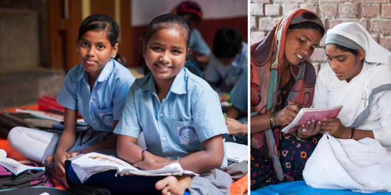 These Bridge of Hope students look happy during class time at GFA's Bridge of Hope program. Education can protect a girl from exploitation—and redirect her future. This is a primary solution to begin changing the statistics of 100 million missing women.