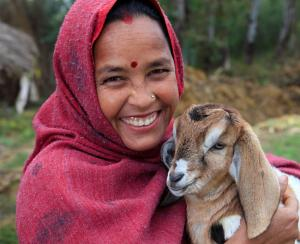 This woman was blessed by the gift of a goat from Heifer International, helping lift her out of poverty.