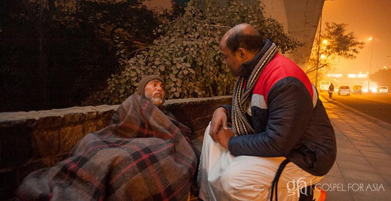 Winter becomes a threat to the poor who cannot afford heating or appropriate clothes. This homeless man faced sickness or death during cold snap in December 2014—which is why a Gospel for Asia-supported worker gave him protection from the cold.