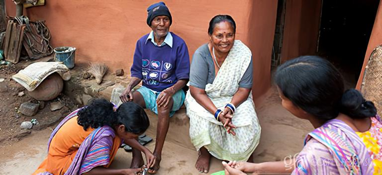 Gospel for Asia founded by Dr. K.P. Yohannan: Pastor Daha and the women missionaries visited Balwant and his wife regularly. They helped them with daily tasks and even trimmed Balwant's nails for him, showing him the tender love of Christ.