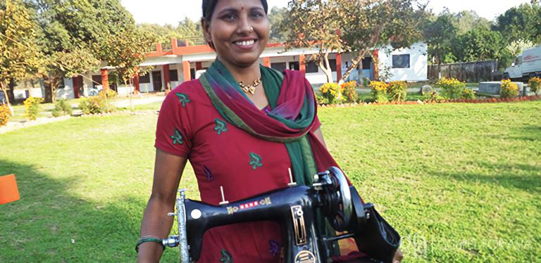 Gospel for Asia founded by Dr. K.P. Yohannan: Sani received her new sewing machine with joy. Thanks to people around the world and the love of Christ, Sani is now able to take care of her family and sees her worth in the eyes of Christ.