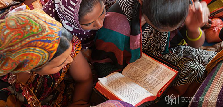 Gospel for Asia founded by Dr. K.P. Yohannan: Laija grew in her knowledge of God while Abeyma and Vivaan shared from the Word of God, just as these women learn by reading their Bible.