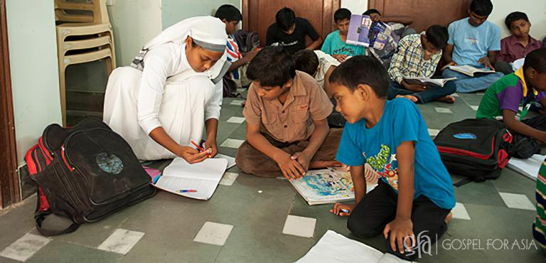Gospel for Asia founded by Dr. K.P. Yohannan: Boys and girls at Gospel for Asia-supported children's home receive education, food and genuine love