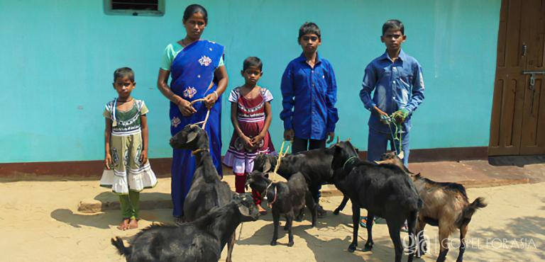 Gospel for Asia founded by Dr. K.P. Yohannan: Kripal's family (pictured) carefully raised their goats, enabling Kripal to provide food, clothing and education for his children, as well as a tin roof for their home.
