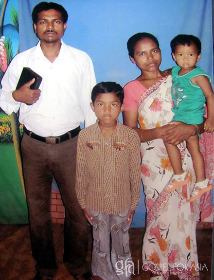 Gospel for Asia founded by Dr. K.P. Yohannan: This is Pastor Turag with his wife and children. God has used Pastor Turag to change people's lives and rescue them from waterborne illness.