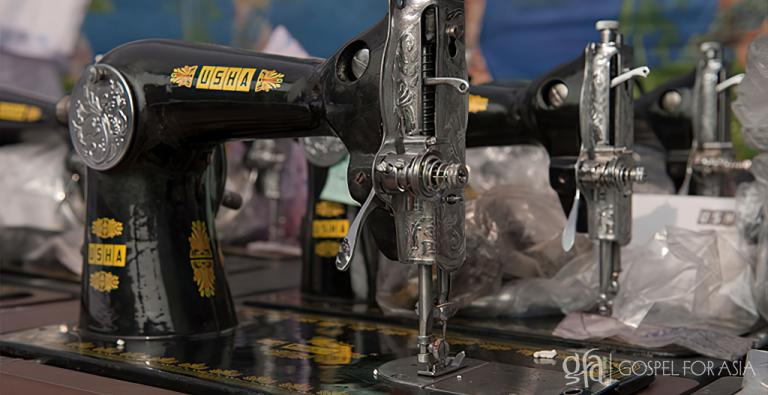 These sewing machines were presented to families at a Gospel for Asia supported gift distribution