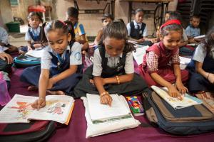 Girl students studying at GFA Bridge of Hope center