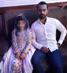 """Photo of a 2019 """"child marriage"""" in Iran"""