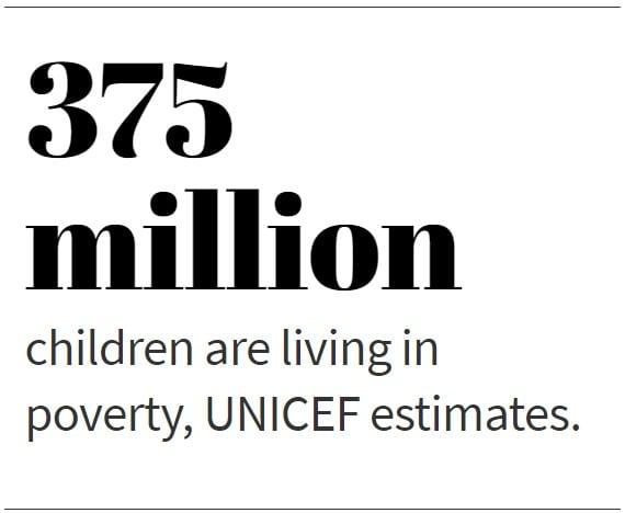 375 million children are living in poverty, UNICEF estimates.