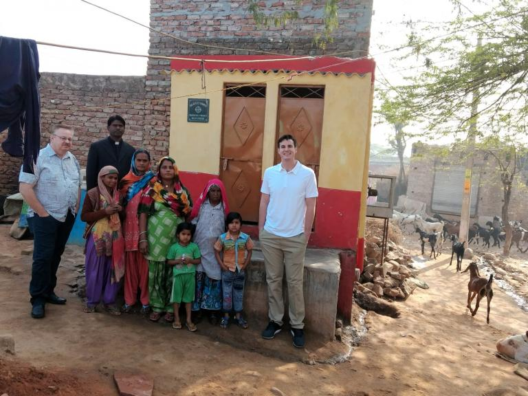 GFA World supporters visit outdoor toilet installed by Believers Eastern Church in South Asia