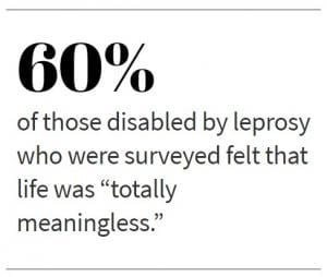 """60% of those disabled by leprosy who were surveyed felt that life was """"totally meaningless."""""""