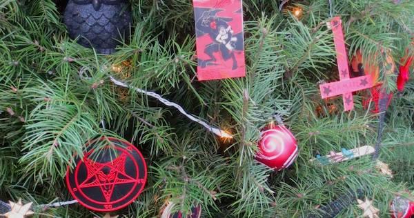 Satanic Bay Area Holiday Tree display. Image Credit Satanic Bay Area via  Facebook - Satanic Bay Area Holiday Display Tree Suffers Thefts Jack Matirko