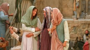 Mary walks with Elizabeth, mother of John the Baptist.