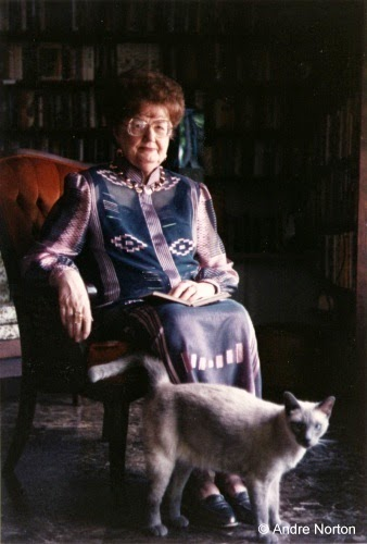 Andre Norton in chair with cat