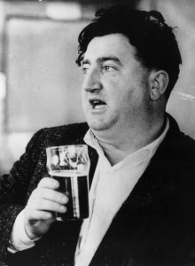 23rd June 1956: Irish playwright Brendan Behan (1923 - 1964) having a pint. (Photo by Keystone/Getty Images)