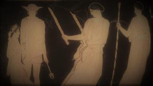 Working Title/Artist: The Return of Persephone, bell krater Department: Greek & Roman Art Culture/Period/Location: HB/TOA Date Code: Working Date: photographed by mma in 1983, side A, transparency 2b scanned by film & media 4/7/03 (phc)