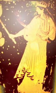 Ancient depiction of Hekate with torches.