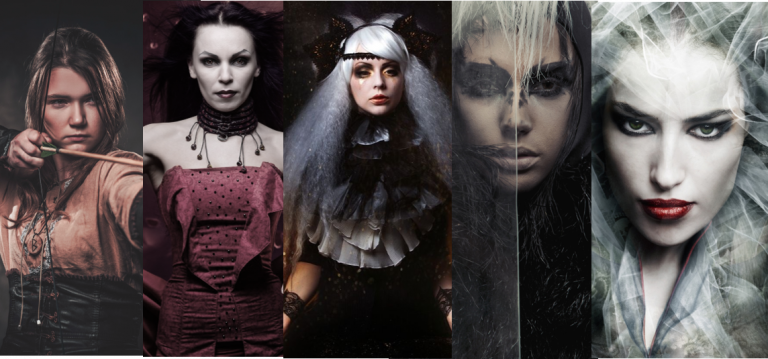 A collage of images of Hekate, Circe, Artemis, Persephone and Medea