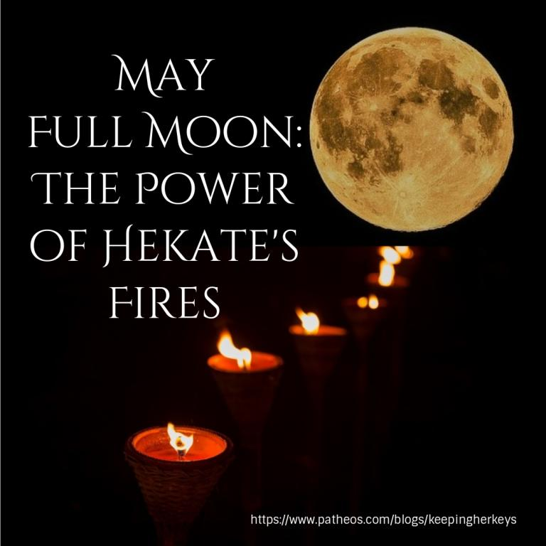 Hekate, or Hecate, is associated with fire, torches and the moon.