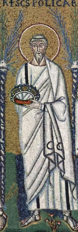 """Basilica of Sant'Apollinare Nuovo in Ravenna, Italy: """"Procession of the Holy Martyrs"""" - a detail: St. Polycarp. The work was completed within 526 AD by the so-called """"Master of Sant'Apollinare""""."""