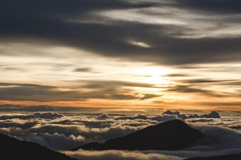 Sunrise over extinct volcano