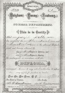 Diploma signed by Smoot and Maeser