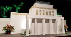 Replica of the Lāʻie Hawaii Temple for the 100th birthday celebration