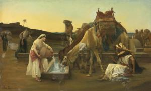 woman giving camels water to drink. make time to experience